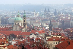 Praha landscape, red roof of old town