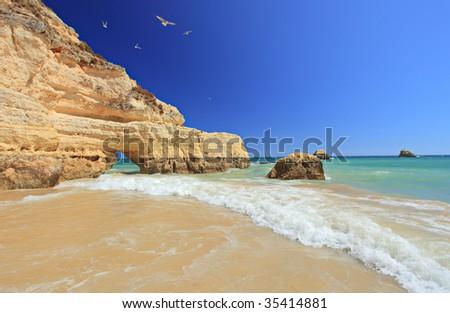 Praia da Rocha beach in Portimao, Algarve, Portugal