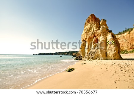 Praia da Rocha beach in the Algarve in Portugal