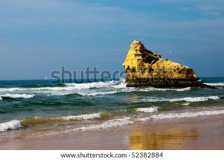 Praia da Rocha on the Atlantic Ocean in Algarve, southern Portugal. - stock photo