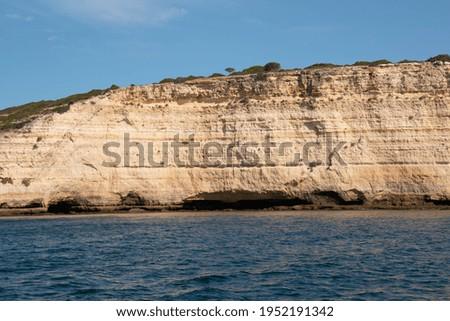 Praia da Rocha (Rocha Beach), beautiful Algarve Coast, Blue Sea Foto stock ©