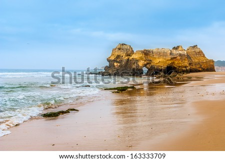 Praia da Rocha's beach area on the Atlantic Ocean in Algarve, southern Portugal
