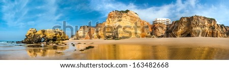 Praia da Rocha's beach area on the Atlantic Ocean in Algarve, southern Portugal