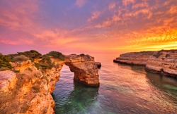 Praia de Albandeira - beautiful coast of Algarve at sunset, Portugal