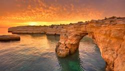 Praia de Albandeira - beautiful coast of Algarve at sunset, Portugal, Portugal