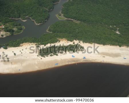 Praia de Lua Manaus, view from plane, Amazonas Brazil
