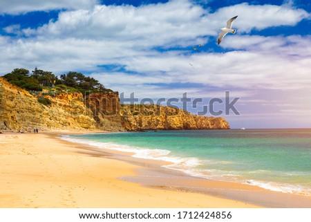 Praia de Porto de Mos with seagulls flying over the beach, Lagos, Portugal. Praia do Porto de Mos, long beach in Lagos, Algarve region, Portugal.  Stock fotó ©