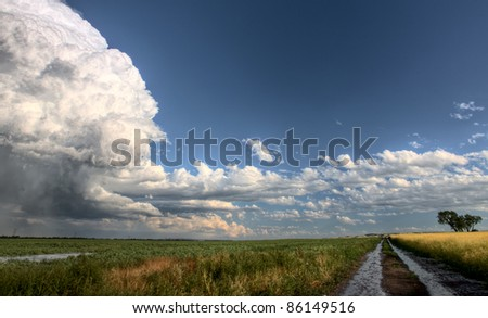 Prairie Road Storm Clouds Saskatchewan Canada field
