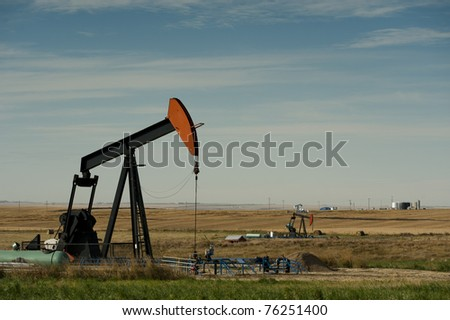 Prairie wheat field with oil pumpjacks