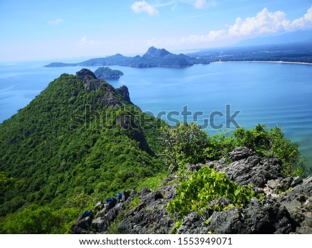Prajuab Kirikhan, Thailand – October 11 2019 : The beautiful landscape from top of mountain, with blue water, blue sky, island