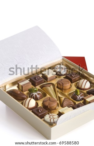 pralines or selection of fine chocolates - stock photo