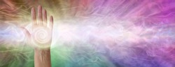 Pranic Energy Chakra Centre in Palm of Hand  - female hand facing outwards with a white spiralling vortex energy formation in the palm against a multicoloured gaseous ethereal energy field background