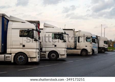 PRAQUE,CZECH REPUBLIC-November 11, 2015: European Trucks vehicle in stopping park car for transportation to terminal ,Praque Czech republic. #349173251