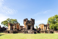 Prasat Wat Sa Kamphaeng Yai, Old Thai historical castle, Uthumphon Phisai District, Sisaket Province, Thailand.