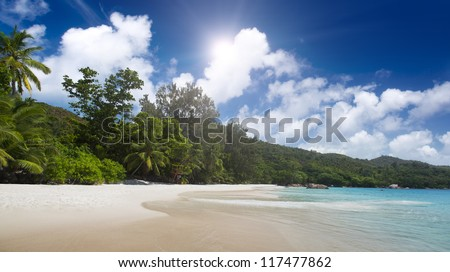 Praslin island, Seyshelles, Anse Lazio. The island of dreams for a rest and relaxation.