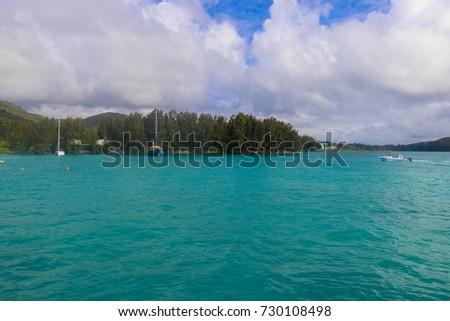 PRASLIN, SEYCHELLES - SEPTEMBER 13 2017: Inter island ferry terminal. Jetty Praslin. Seychelles #730108498