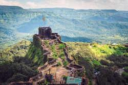 Pratabgad Fort, one of the Most crucial forts of Shivaji Maharaj. as seen from the top, Near Mahabaleshwar, India
