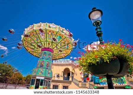 Prater fun park carousel in Vienna view, capital of Austria