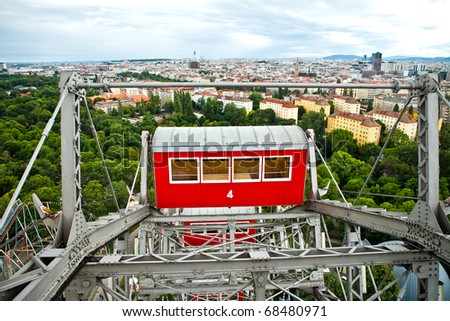 Prater - view from the giant old ferris wheel in Vienna, Austria - stock photo
