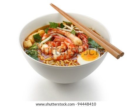 prawn mee, prawn noodles - stock photo