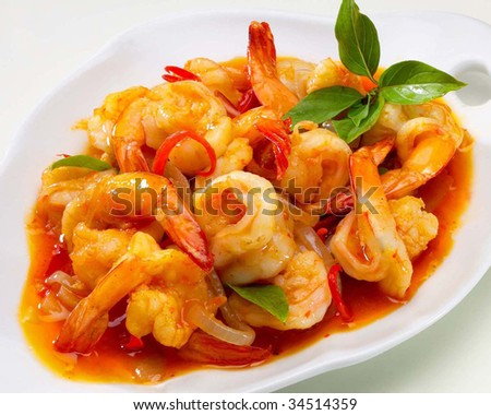 prawn on whiteplate