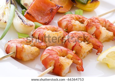 Prawn Skewer - stock photo