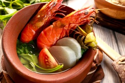 Prawns in sour broth. Very delicious dish from Philippines. Sinigang na Hipon.