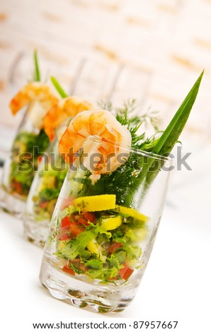 Prawns in the glass