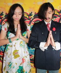Pray Artistic Culture Asian Prewedding Couple Emo Romance with Vintage Style Colorfull Background