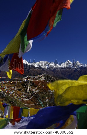 Prayer flags with a mountain background. Nepal