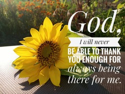 Prayer inspirational quote - God, i will never be able to thank you enough for always being there for me. With sunflower blossom decoration and the sunlight over the garden background.