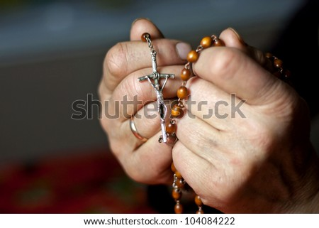 prayer old woman hands with rosary