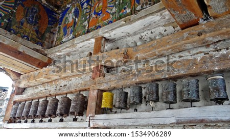Prayer wheels and Mani stones on the Annapurna tour in Nepal