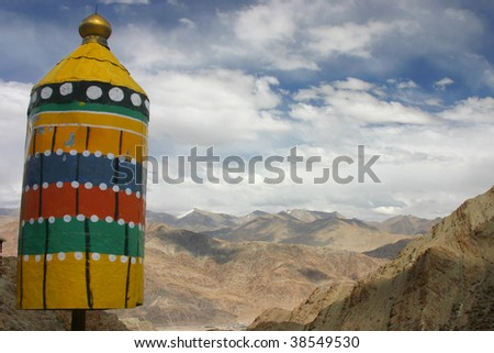 Prayer windmill in Hemis monastery, ladakh mountains of North of India