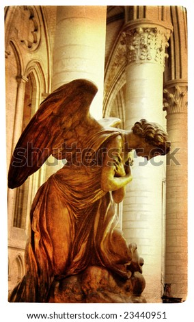 praying angel -  artistic picture in retro style