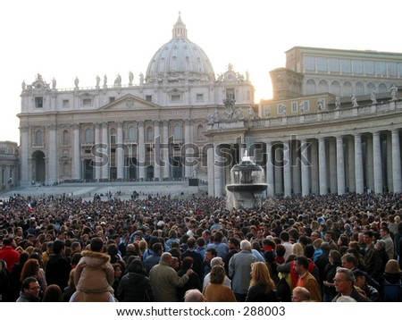 Praying  for the health of the pope at piazza san pietro in Rome.
