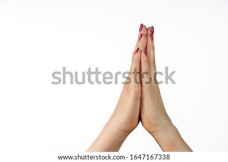 praying hands isolated on white background Foto stock ©