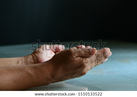 Praying hands of a man with faith in religion #1510133522
