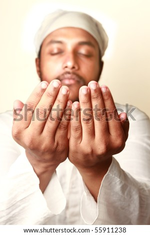 Praying hands of a Muslim