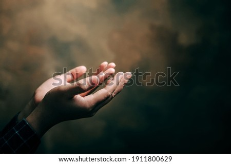 praying hands with faith in religion and belief in God on blessing background. Power of hope or love and devotion. Foto stock ©