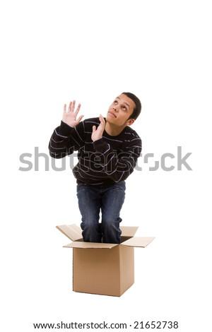praying inside the box (isolated on white) - stock photo
