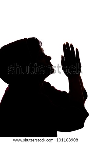 praying woman isolated on white background