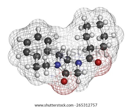 Praziquantel anthelmintic drug molecule. Used to treat tapeworm infections. Atoms are represented as spheres with conventional color coding: hydrogen (white), carbon (grey), oxygen (red), etc