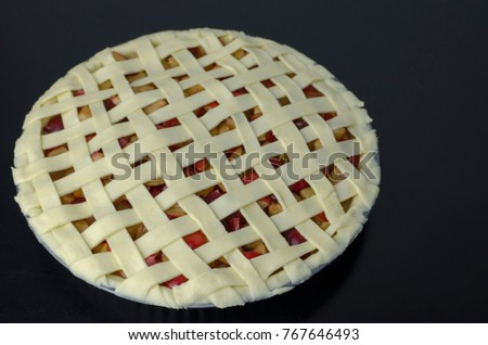 Pre-Baked Homemade Plum Pie with Shortcrust Pastry and with Woven Lattice Top Pie Crust