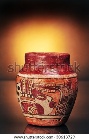 Pre-Columbian Mayan painted vase,made around 600AD