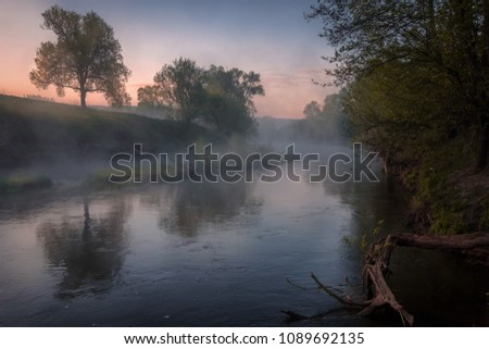 Pre-dawn river Osetr in a light fog, at dawn. #1089692135
