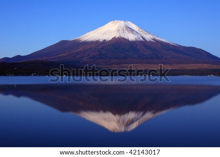 Pre-dawn view of Mount Fuji with mirror reflection in lake