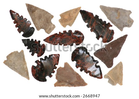 Pre-European Native American Arrowheads made of Obsidian and Chert.