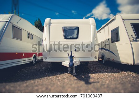 Pre Owned Travel Trailers For Sale. Campers and RVs Dealership Lot.