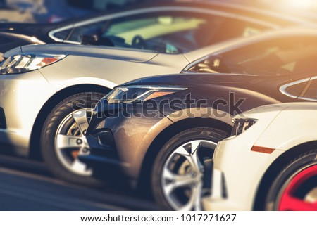 Pre Owned Vehicles For Sale in Stock. Used Cars on Dealership Lot. Automotive Industry.
